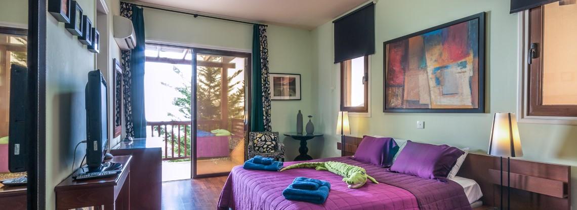 Panorama wedding Cyprus villa in Paphos master bedroom
