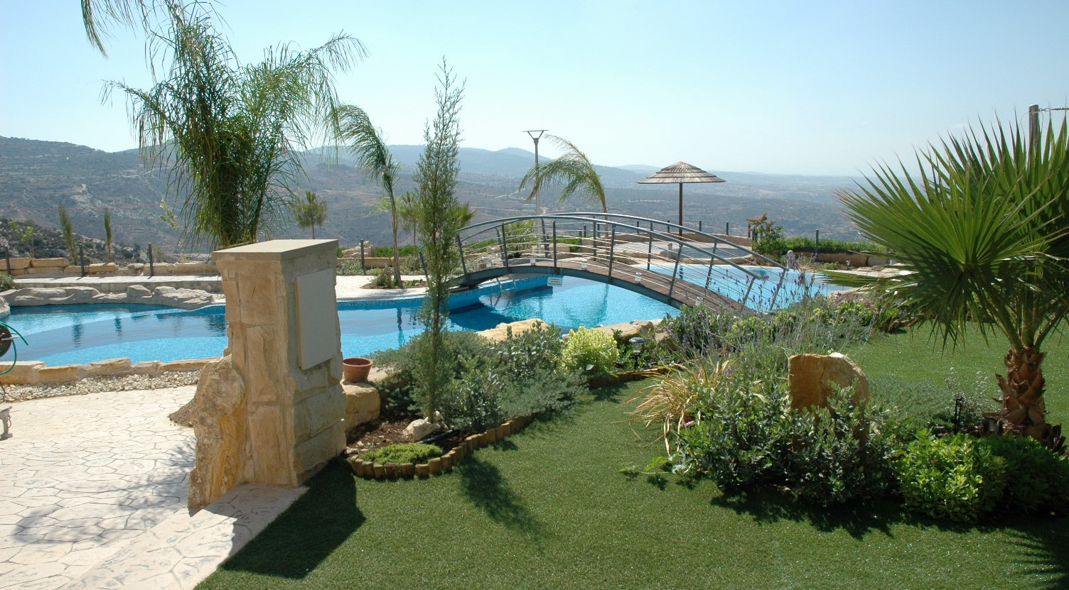 Panorama luxury villa with large garden and swimming pool