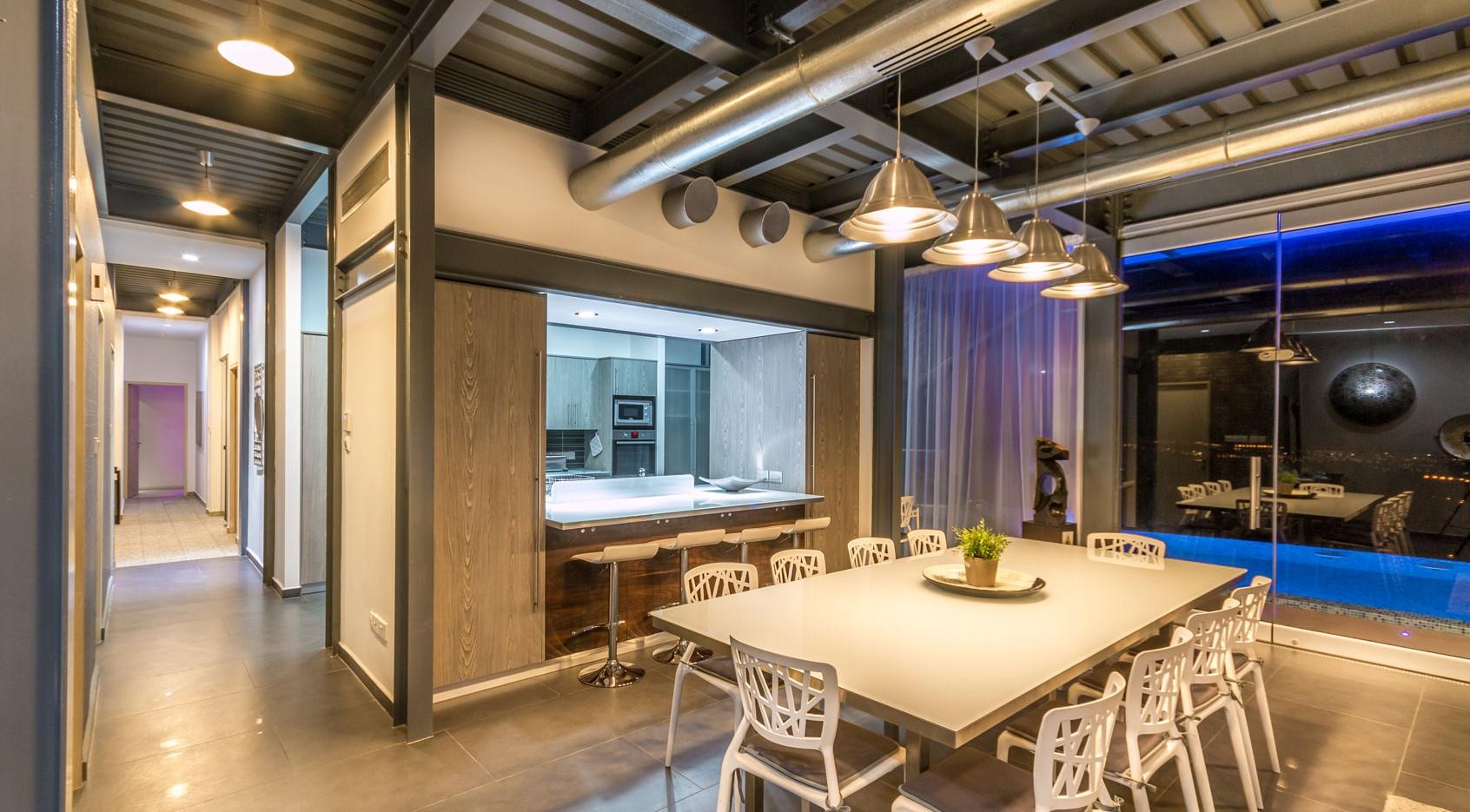 Oceania Villa minimal kitchen, villas to rent in Cyprus WeddingCyprusVillas
