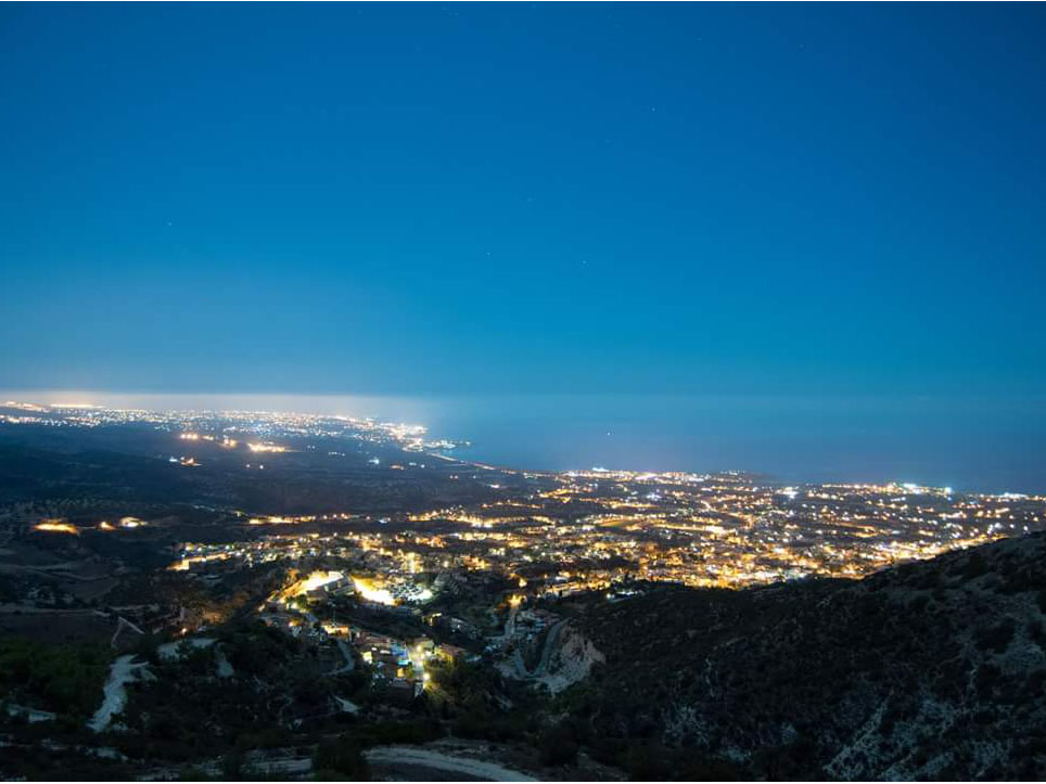 Breathtaking View from Peyia Hills at Night from Sevinos
